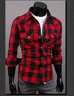 Men's Casual/Daily Street chic Spring / Summer Shirt,Plaid Classic Collar Long Sleeve Red / Black Cotton Thin
