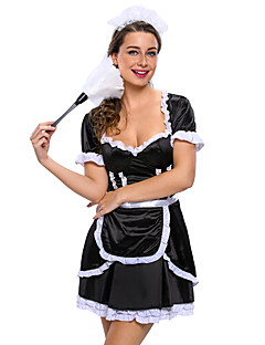 Cosplay Costumes Party Costume Maid Costumes Career Costumes Festival/Holiday Halloween Costumes Black Solid Dress Apron Headwear
