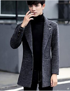 Men's Long Padded Coat,Simple Work Solid-Wool Wool Long Sleeve Standing Collar Blue / Brown / Gray