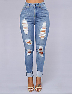 Women's Slim / Skinny Jeans Pants,Going out / Casual/Daily Sexy / Vintage / Simple Solid High Rise Zipper Spandex Micro-elasticSpring /