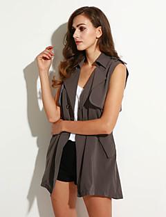 Damen Solide Einfach Lässig/Alltäglich Jacke,Gekerbtes Revers Sommer Ärmellos Grau Andere Undurchsichtig