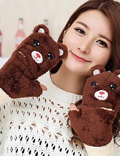 kvinders de bjørn form flytbare lam pels fingerspidserne dyreprint håndled længde søde vinter handsker