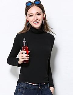 Dames Street chic Winter T-shirt,Casual/Dagelijks / Grote maten Effen Coltrui Lange mouw Zwart / Bruin Rayon / Spandex Medium