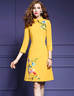 Women's Going out Simple A Line Dress,Embroidered Peter Pan Collar Above Knee ¾ Sleeve Blue / Yellow Polyester Fall Mid Rise Micro-elastic