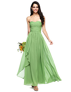 2017 Lanting Bride® Floor-length Chiffon Open Back Bridesmaid Dress - A-line Sweetheart with Criss Cross