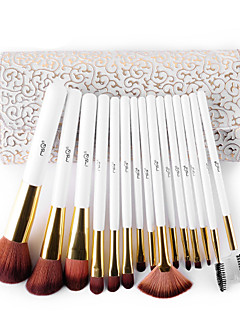 MSQ® 15pcs Makeup Brushes set Bristle Hair Hypoallergenic/Limits bacteria/Professional Fiber White Blush brush Shadow/Eyeliner/LipBrush With Bag