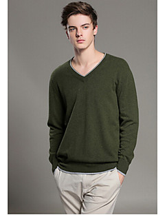 Men's Casual/Daily Simple Regular Pullover,Solid Multi-color Round Neck Long Sleeve Wool Cotton Fall Winter Medium Micro-elastic