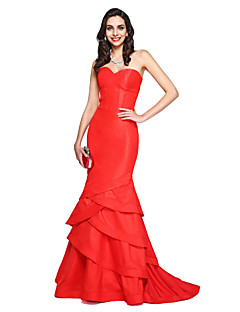 TS Couture® Formal Evening Dress Trumpet / Mermaid Sweetheart Court Train Taffeta with Cascading Ruffles