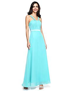 2017 לנטינג שיפון באורך הרצפה bride® לפתוח בחזרה שמלת השושבינה - רצועות עם אבנט