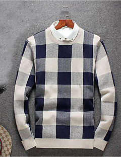 Men's Going out Casual/Daily Simple Regular Pullover,Houndstooth Blue Yellow Round Neck Long Sleeve Polyester Fall Winter Medium
