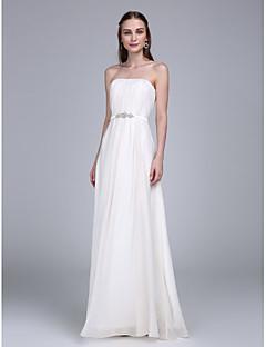 LAN TING BRIDE עד הריצפה סטרפלס שמלה לשושבינה - אלגנטי ללא שרוולים שיפון