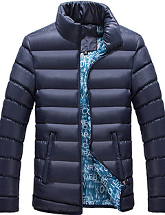 Пальто Простое Обычная На подкладке Мужчины,Однотонный На каждый день Хлопок Хлопок,Длинный рукав Воротник-стойка Синий / Черный