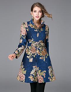 Γυναικεία Παλτό Καθημερινά Εκλεπτυσμένο Κέντημα,Μακρυμάνικο Όρθιος Γιακάς Μεσαίου Πάχους Φθινόπωρο / Χειμώνας Λινό Μπλε