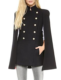 Damen Solide Einfach Lässig/Alltäglich Mantel / Capes,Winter Ständer Ärmellos Schwarz Mittel Polyester
