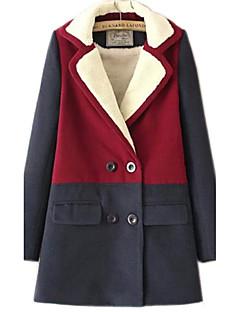 קולור בלוק דש קלאסי סקסי / סגנון רחוב ליציאה / יום יומי\קז'ואל מעיל נשים,אדום / חום שרוול ארוך סתיו / חורף עבה כותנה