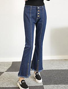 女性 ブーッカット プラスサイズ ジーンズ パンツ,お出かけ / カジュアル/普段着 シンプル / ストリートファッション ゼブラプリント タッセル ミッドライズ ボタン コットン 非弾性 All Seasons