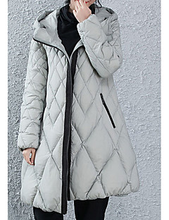 Women's Regular Down Coat,Simple Going out / Casual/Daily Solid-Polyester White Duck Down Long Sleeve Hooded Gray