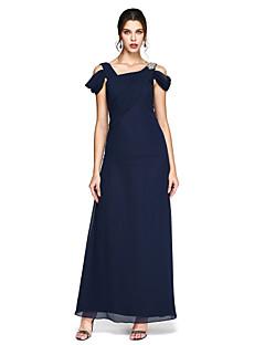 Sütun Yere Kadar Şifon Balo Resmi Akşam Elbise ile Boncuklama Yan Drape Pileler tarafından TS Couture®