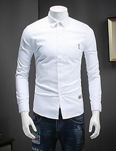 Masculino Camisa Social Informal Simples Outono,Sólido Rosa / Branco / Verde Algodão Decote Redondo Manga Longa Fina