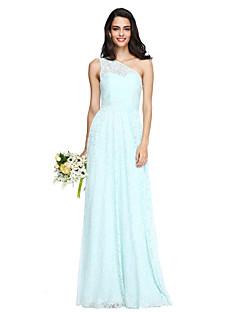 2017 Lanting vestido longo bride® laço elegante dama de honra - um ombro com faixa