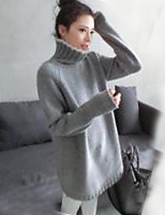 Women's Going out Party/Cocktail Holiday Vintage Street chic Sophisticated Long Pullover,Solid Gray Round Neck Long Sleeve PolyesterFall