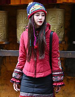 Feminino Jaqueta Casual / Tamanhos Grandes Boho Inverno,Estampado Vermelho Algodão / Poliéster Com Capuz-Manga Longa