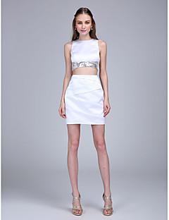 TS Couture Koktejlový večírek Promoce Šaty - Sexy Pouzdrové Klenot Krátký / Mini Satén s Křížení Flitry