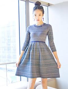 Kadın Günlük/Sade Sade Örgü İşi Elbise Zıt Renkli,Uzun Kollu Yuvarlak Yaka Diz üstü Mor Yünlü / Pamuklu Sonbahar Normal Bel Streç Orta