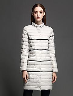 Damen Gefüttert Mantel,Standard Einfach Lässig/Alltäglich Gestreift-Nylon Polypropylen Langarm Grau Rollkragen