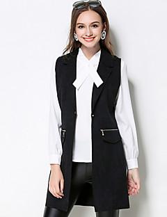 Dames Eenvoudig Herfst Jack,Casual/Dagelijks / Grote maten Ingesneden revers-Mouwloos Zwart Effen Medium Polyester