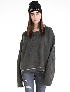 Damen Kurz Pullover-Lässig/Alltäglich Retro Solide Rot Grau Gelb Rundhalsausschnitt Langarm Wolle Winter Mittel Mikro-elastisch