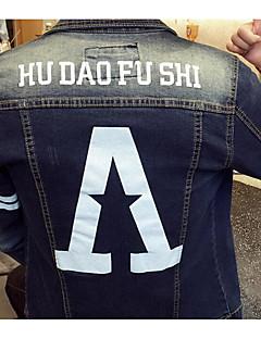 Heren Vintage / Street chic Denim jacks,Casual/DagelijksLange mouw Blauw Geometrisch Katoen