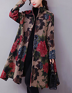 Women's Casual/Daily Street chic Ethnic Print Coat Print Stand Long Sleeve Fall / Winter Blue / Beige Cotton Thick