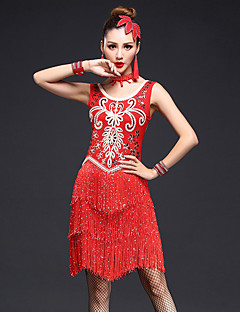 Latin Dance Dresses Women's Performance Spandex Rhinestones / Sequins / Tassel(s) 4 Pieces Sleeveless High Dance Costumes