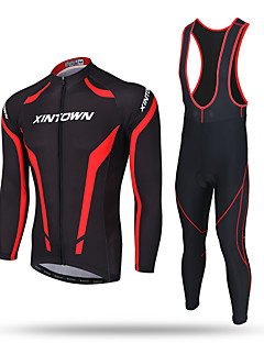 XINTOWN Cycling Jersey with Bib Tights Men's Long Sleeve BikeThermal / Warm Windproof Moisture Permeability Front Zipper Static-free