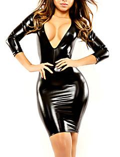 Ženy Ultra sexy Noční prádlo Sexy Jednobarevné-Patentová kůže Střední Černá Dámské