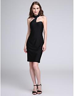 LAN TING BRIDE באורך  הברך קולר שמלה לשושבינה - שמלה שחורה קטנה ללא שרוולים ג'רסי