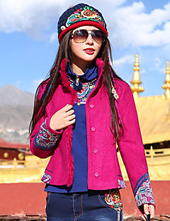 Our Story Women's Casual/Daily Boho JacketsEmbroidered Stand Long Sleeve Fall / Winter Red Wool / Polyester