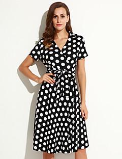 Women's Holiday / Plus Size Boho Loose Dress,Polka Dot V Neck Knee-length Short Sleeve Black Spandex Summer