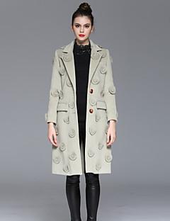 Casual/hétköznapi Egyszerű Őszi / Téli-Női Kabát,Nyomtatott V-alakú Hosszú ujj Rózsaszín / Bézs Poliészter