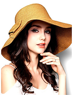 Women Vintage Casual Summer Dome Double Bow Wide Eaves Straw Hat Foldable Beach Cap