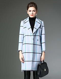 Notch Lapel Langærmet Medium Dame Blå Ternet Vinter Vintage Casual/hverdag Frakke,Uld / Polyester
