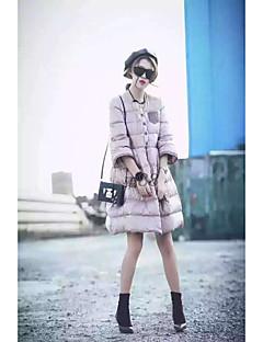 Damen Daunen Mantel Einfach Ausgehen Solide-Baumwolle Weiße Entendaunen ¾-Arm Rosa Rundhalsausschnitt
