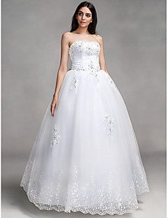 Ball Gown Wedding Dress Lacy Look Floor-length High Neck Lace with Appliques Beading Bow Sash / Ribbon