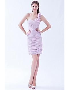 Krátký / Mini Jedno rameno Šaty pro družičky - Sexy Bez rukávů Šifón