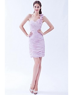 Short / Mini Chiffon Sexy Bridesmaid Dress - Sheath / Column One Shoulder with Flower(s)