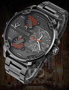 Men's Military Watch Dress Watch Fashion Watch Wrist watch Calendar Dual Time Zones Punk Quartz Alloy Band Vintage Cool Casual Luxury