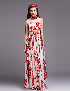 Damen Swing Kleid-Lässig/Alltäglich Chinoiserie Blumen Rundhalsausschnitt Maxi Ärmellos Rot Polyester Herbst Mittlere Hüfthöhe Unelastisch