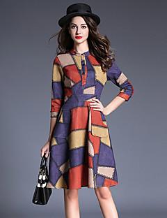 Feminino Evasê Vestido,Casual Moda de Rua Listrado / Retalhos Decote Redondo Altura dos Joelhos Manga ¾ Colorido Algodão / Poliéster