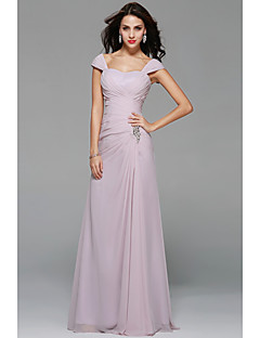 Floor-length Chiffon Sexy Bridesmaid Dress - A-line Off-the-shoulder with Beading / Draping / Side Draping